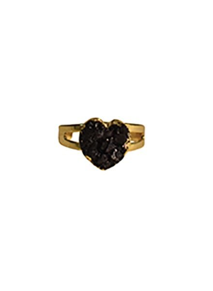 Minimalist chic natuursteen statement ring hart zwart