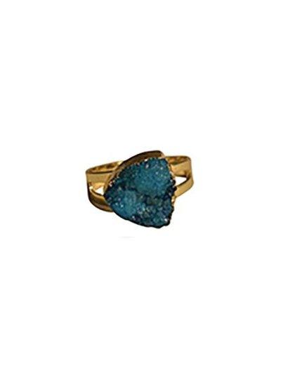 Minimalist chic natuursteen statement ring driehoek blauw