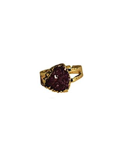 Minimalist chic nature stone statement ring triangle purple
