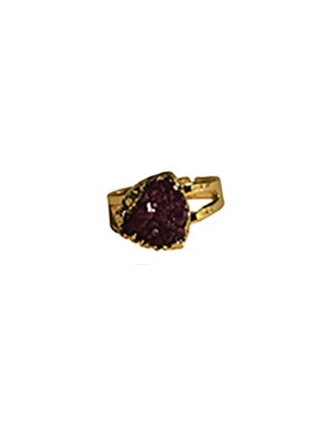 Minimalist chic nature stone statement ring triangle purple