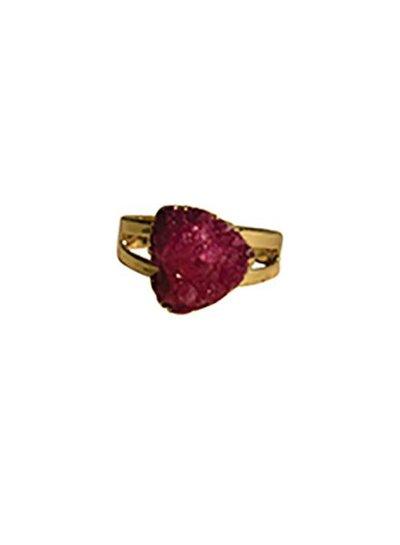 Minimalist chic natuursteen statement ring driehoek roze