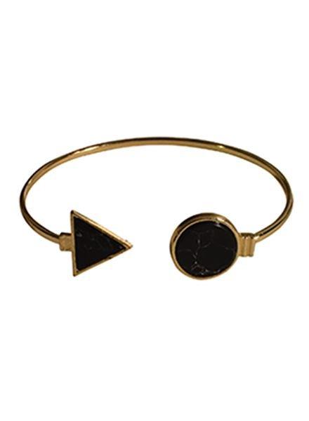 Minimalist chic marble statement cuff bracelet round black