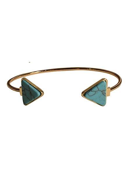 Minimalist chic marble statement cuff bracelet triangle turquoise