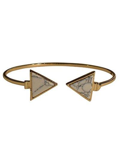 Minimalist chic marble statement cuff armband driehoek wit