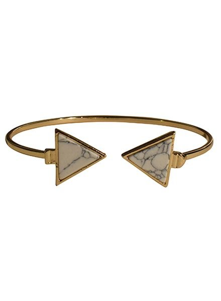 Minimalist chic marble statement cuff bracelet triangle white