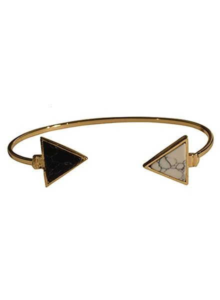 Minimalist chic marble statement cuff bracelet triangle black-white