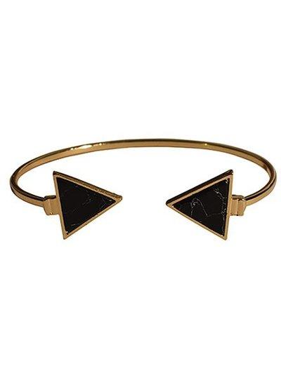 Minimalist chic marble statement cuff bracelet triangle black