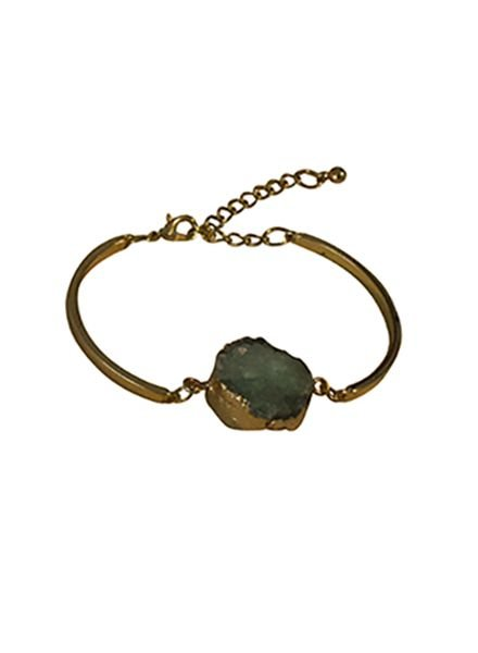 Minimalist chic nature stone statement bracelet green
