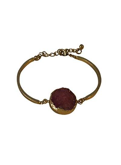 Minimalist chic nature stone statement bracelet pink