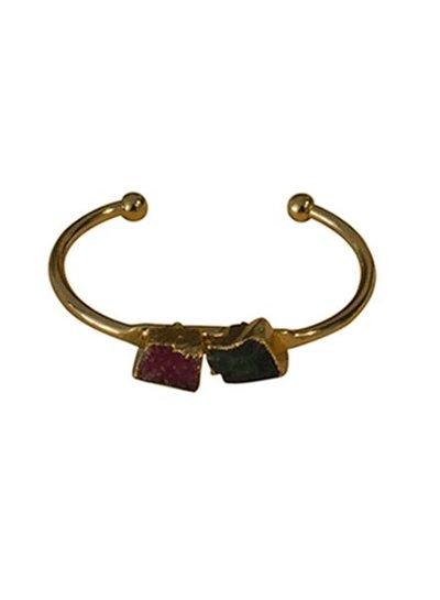 Minimalist chic natuursteen statement cuff armband roze-groen