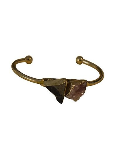 Minimalist chic nature stone statement cuff bracelet pink-black