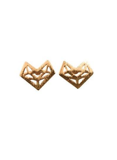 Minimalistische statement oorbellen abstract hart goudkleurig