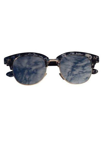 Marmer look zonnebril met spiegelglazen navy