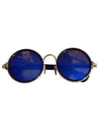 Coole urban stijl zonnebril met ronde glazen blauw