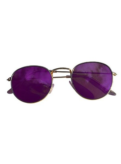 Cool urban sunglasses with purple mirrored lenses gold