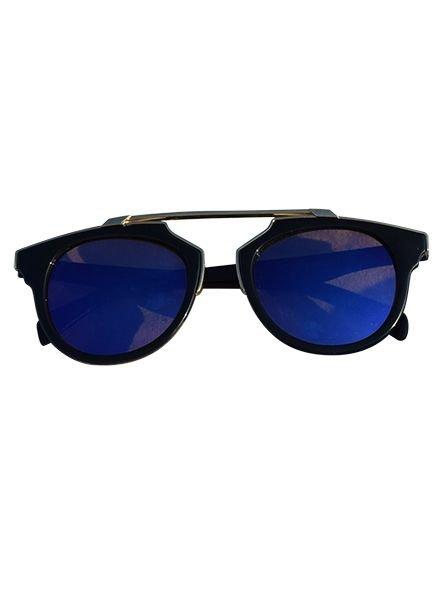 Coole urban rock zonnebril met edgy blauwe glazen