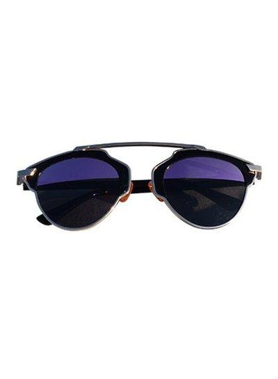 Unieke urban rock zonnebril met zwart montuur en spiegelglazen