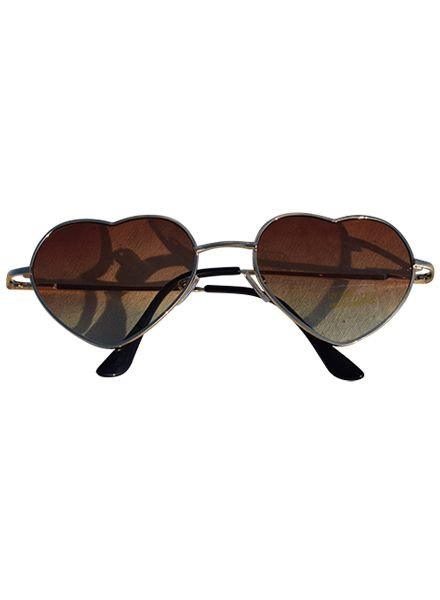 Trendy hartjes zonnebril bruin