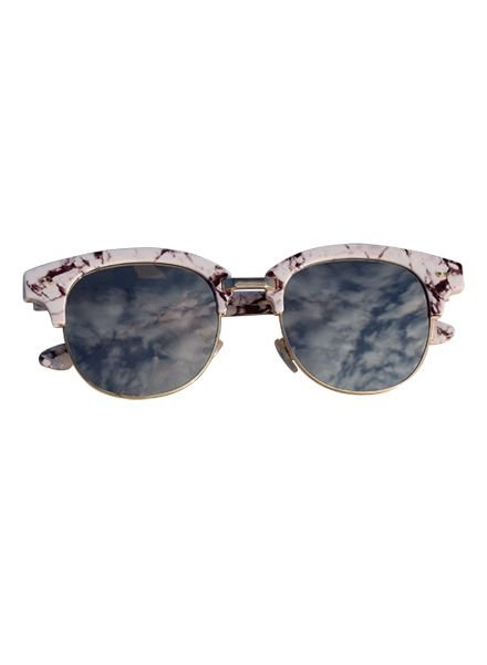 Marble look sunglasses with mirrored lenses white