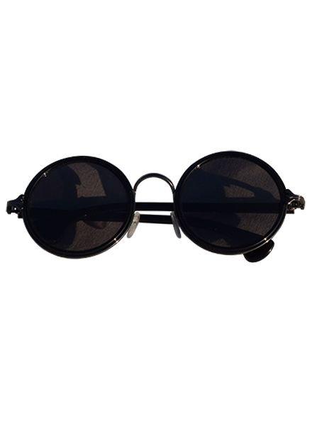 Coole urban stijl zonnebril met ronde glazen zwart