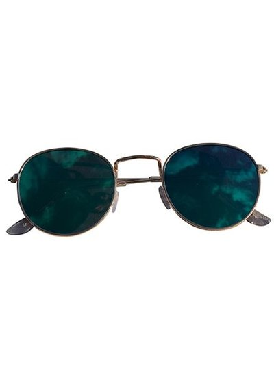 Cool urban sunglasses with green mirrored lenses silver
