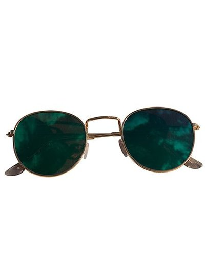 Coole urban zonnebril met groene spiegelglazen goud