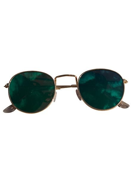 Cool urban sunglasses with green mirrored lenses gold