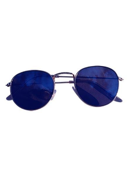 Coole urban zonnebril met blauwe spiegelglazen goud
