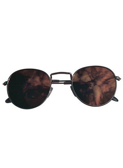 Coole urban zonnebril met roze spiegelglazen goud