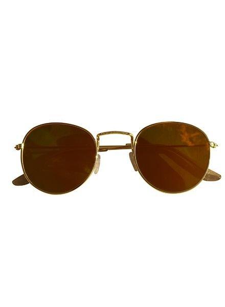 Coole urban zonnebril met gele spiegelglazen goud