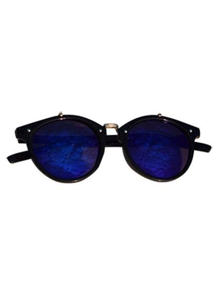Vintage urban stijl zonnebril met edgy blauwe glazen