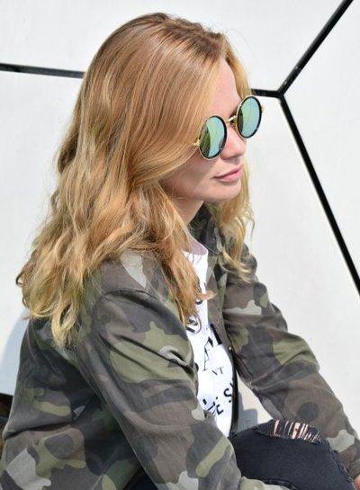 Cool round urban style sunglasses green