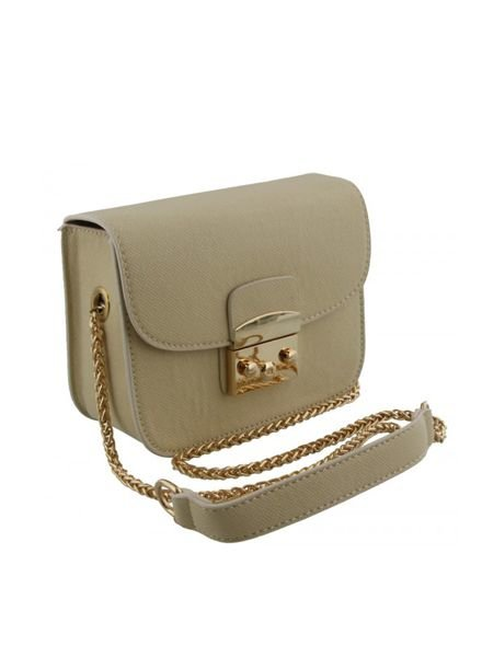 Chique crossbody purse with gold chain handles white