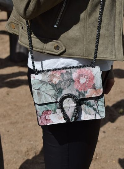 Leather minimalist chic crossbody purse animalier flowers