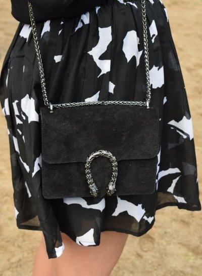 Lederen minimalist chic crossbody tas animalier zwart