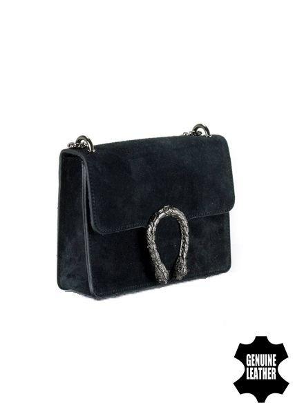 Leather minimalist chic crossbody purse animalier black