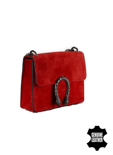 Lederen minimalist chic crossbody tas animalier rood