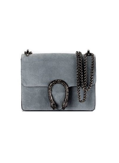 Leather minimalist chic crossbody purse animalier grey