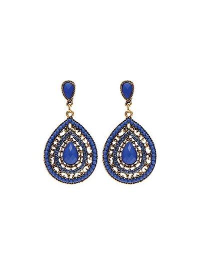 Elegant blue teardrop statement earrings
