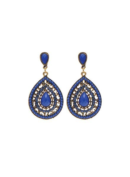 Elegant blue teardrop statement earrings