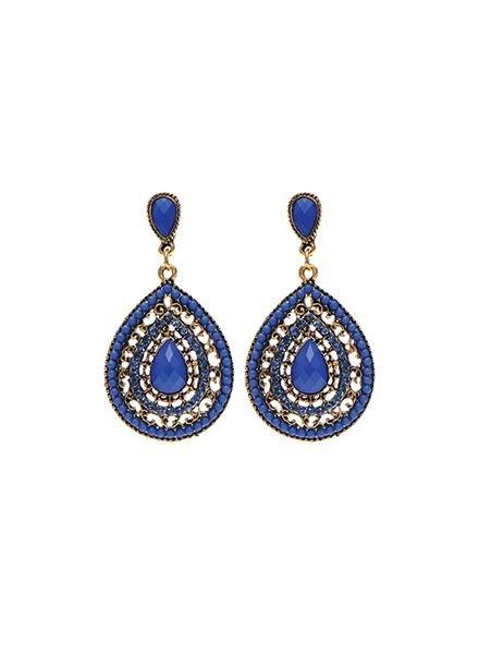 Elegante blauwe druppelvormige statement oorbellen