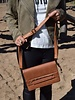 Cool crossbody bag with feather brown