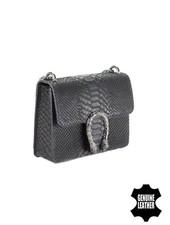 Snake print minimalist chic crossbody purse animalier black