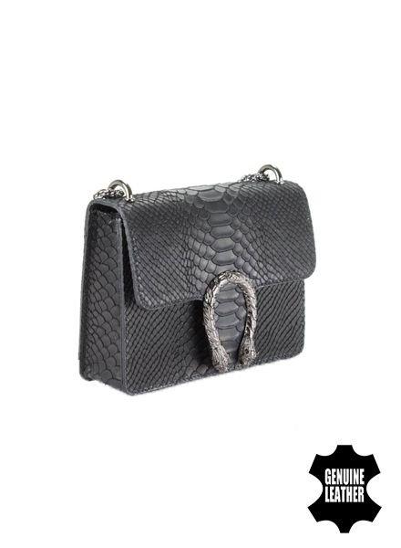 Slangenprint minimalist chic crossbody tas animalier zwart
