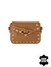 Leather rock chic crossbody purse with studs camel