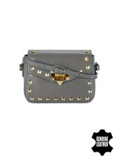 Leather rock chic crossbody purse with studs grey