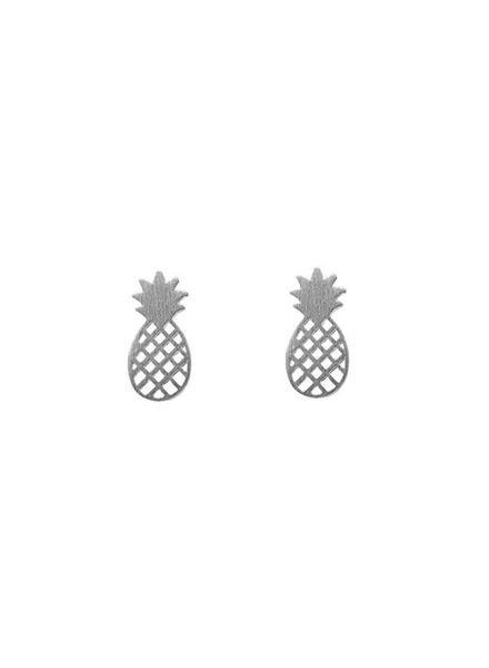 Minimalistische statement oorbellen ananas zilverkleurig