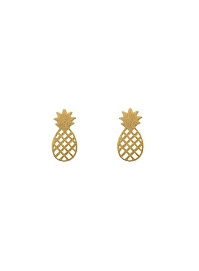Minimalistic statement earrings pineapple gold colored