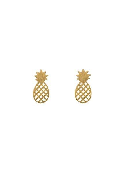 Minimalistische statement oorbellen ananas goudkleurig
