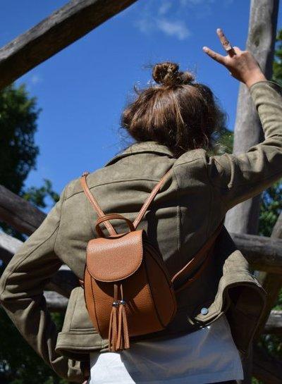 Minimalistic chic mini backpack camel